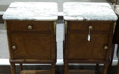 A pair of 19th/20th century French bedside cupboards, with m...