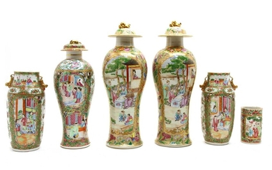A pair of Chinese Canton export porcelain vases