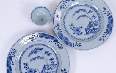 A pair of Chinese blue and white porcelain plates, hand pain...