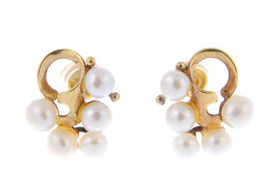 A pair of cultured pearl cluster earrings