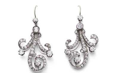 A pair of late 19th century diamond pendent earrings