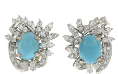 A pair of mid 20th century turquoise and vari-cut diamond cluster earrings.