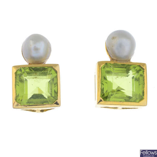 A pair of peridot and cultured pearl earrings.
