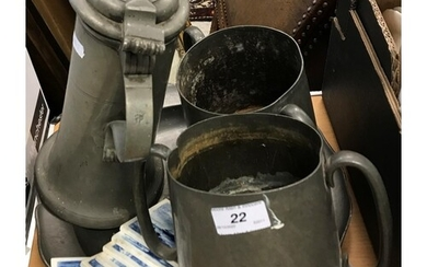 WITHDRAWN A pewter flagon, two twin-handled pewter loving mu...