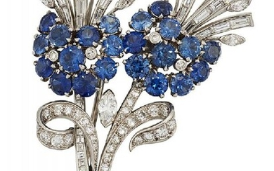 A sapphire and diamond brooch, of brilliant,...