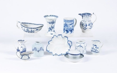 A selection of British blue and white ceramics