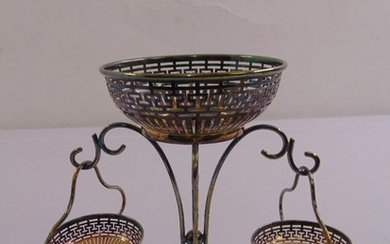 A silver plated table centrepiece scroll and bar pierced bas...