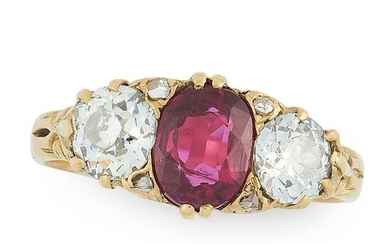 AN ANTIQUE RUBY AND DIAMOND DRESS RING in 18ct yellow