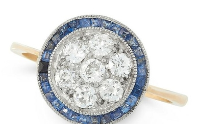AN ART DECO DIAMOND AND SAPPHIRE RING, EARLY 20TH