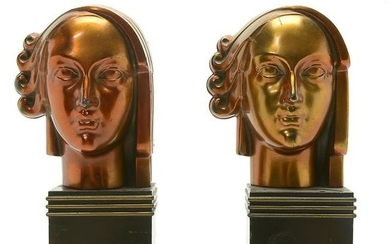 American Art Deco Ronson Brass Bookends Formed as