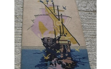 An Art Deco Chinese rug with ship design in yellow and blue ...