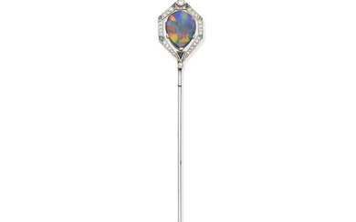 An Art Deco gem-set jabot pin