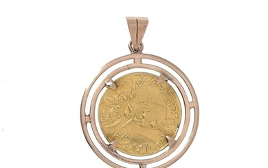 An Iranian gold coin mounted as a pendant on 14 K yellow gold (585 °/°°).