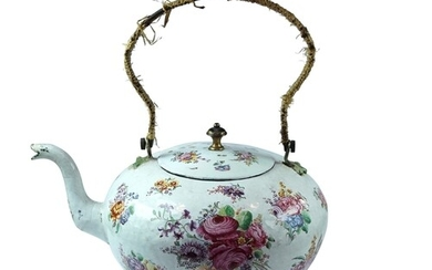 A Very Rare English Enamel Kettle - An important London enam...