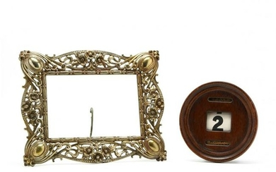 Antique Brass Picture Frame and Wall Calendar