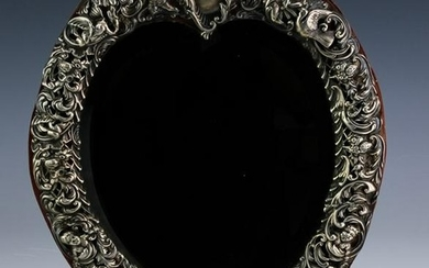 Antique English Sterling Silver Filigree Mirror