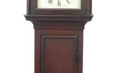 Antique oak long case clock with subsidiary dial, the