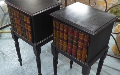 BEDSIDE CABINETS, a pair, English country house style, black...