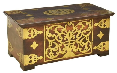 BRITISH COLONIAL BRASS-BOUND ROSEWOOD CHEST