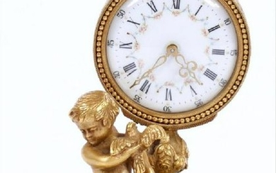 BRONZE MINIATURE BOUDOIR CLOCK