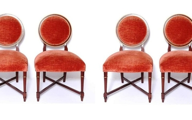Baker Louis XVI Manner Side Dining Chairs, 4