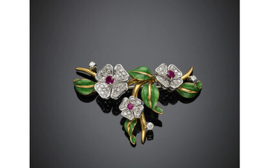 Bi-coloured gold diamond ruby and green enamel floral brooch, diamonds...
