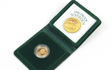 Boxed Elizabeth II 1980 gold proof sovereign with case and c...