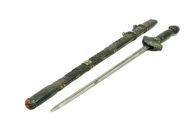 CEREMONIAL SWORD IN SILVER AND HARD STONES