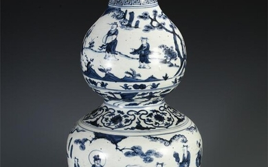 CHINESE BLUE AND WHITE PORCELAIN FIGURE AND STORY GOURD