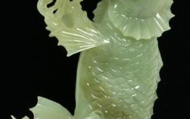 CHINESE DRAGON NEPHRITE CARVING, H 8.5""