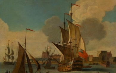 CIRCLE OF FRANCIS SWAINE (BRITISH 1725 - 1782) WARSHIPS IN FRONT OF A FORTIFIED PORT