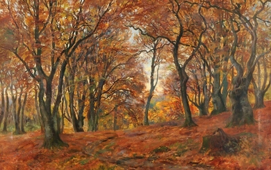 Carl Carlsen: Autumn day in the forest. Signed and dated Carl Carlsen 1901. Oil on canvas. 63.5×94 cm.