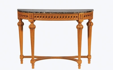Carved Fruitwood Demilune Console Table