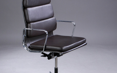 Charles Eames. Soft Pad high-backed office chair, Model EA-219, full leather, dark brown