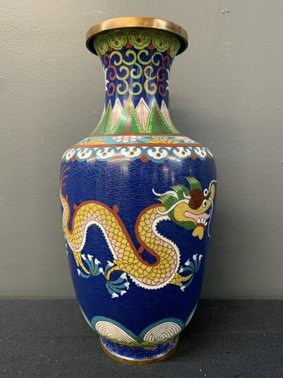 Chinese Brass And Cloisonne Vase, Yellow Dragon