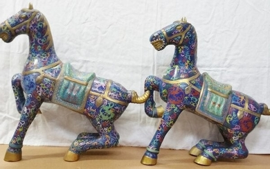 Chinese Cloisonne Enamel Horse Tang Form Statue Pair