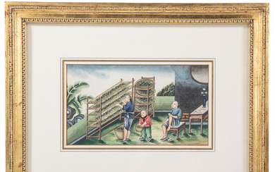 Chinese Export Tea Cultivation Gouache