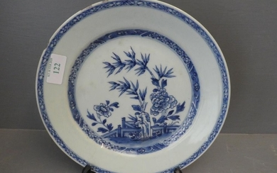 Blue & white plate decorated with bamboo and carnations with...