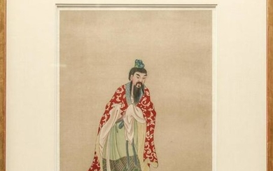 Chinese Standing Bearded Man Gouache on Silk