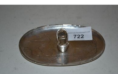 Chinese silver oval chopstick holder dish marked Zee Snug, S...