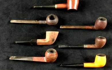Collection of 10 Vintage Briar Tobacco Pipes