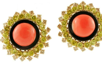 Coral, Diamonds, Onyx, Peritods, Yellow Gold Earrings