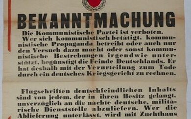 "DISPLAY."" Bekanntmachung "" (Notice) dated 1941 and signed..."