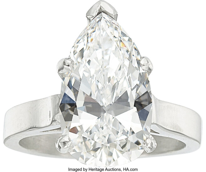 Diamond, Platinum Ring The ring features a pear-shaped diamond...