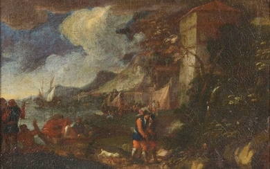 EARLY OLD MASTER STYLE PAINTING OF SHORELINE