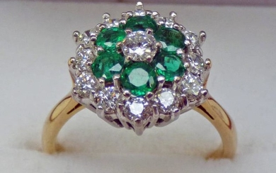 EMERALD & DIAMOND CLUSTER RING IN SETTING MARKED 18CT...