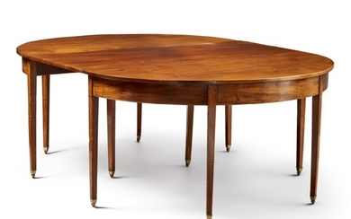 FEDERAL INLAID MAHOGANY TWO-PART DINING TABLE, NEWPORT, RHODE ISLAND, CIRCA 1800