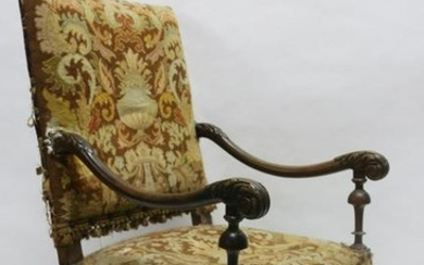 FRENCH 19TH C NEEDLEPOINT ARM CHAIR