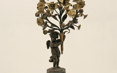 FRENCH BRONZE CANDELABRA WITH CUPID, 19TH C.