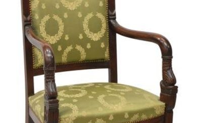 FRENCH EMPIRE STYLE UPHOLSTERED MAHOGANY FAUTEUIL